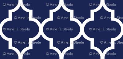 Classic Navy and White Quatrefoil