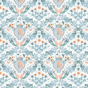 Fertility Damask, orange and teal, small