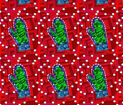 Fantasy crochet mitten fabric by luckyrobin on Spoonflower - custom fabric
