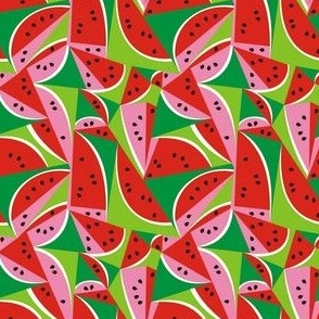 Watermelon Summer Fruit Geometric Pattern