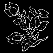 Vector batik flower - white on black - half-brick - zoom to see details