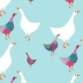 Chiddingly geese/multi blue