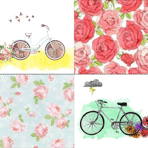 Floral Bicycle Accent Pillows