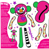 Fat Quarter - Gabby the Clown Monkey Doll