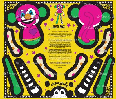 "12"" Clown Monkey Doll (fat quarter)"