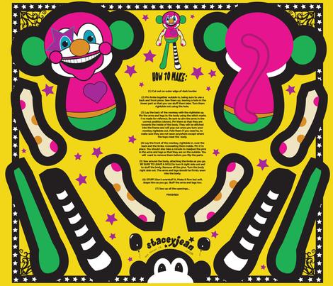 """FQ - 12"""" Clown Monkey Cut & Sew Doll fabric by pumpkinbones on Spoonflower - custom fabric"""
