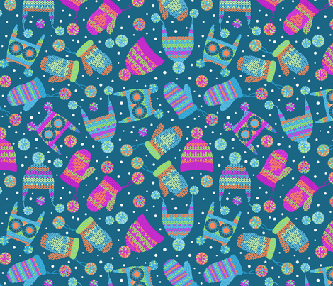 A flurry of mittens and hats dark fabric by cjldesigns on Spoonflower - custom fabric