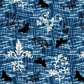 leafy weave fleur de lis and butterflies