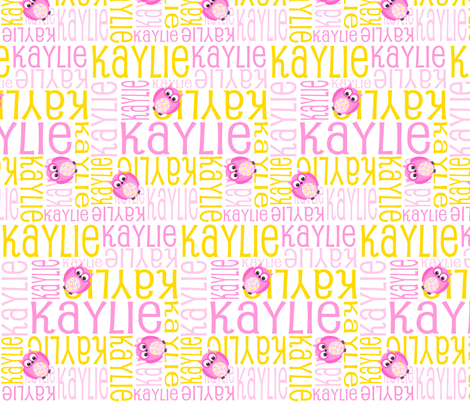 Personalised Name Fabric - Pink and Yellow Owls
