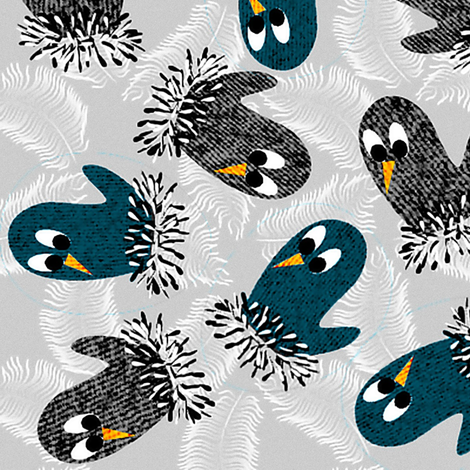 bird mittens = twittens ( blue ) fabric by glimmericks on Spoonflower - custom fabric
