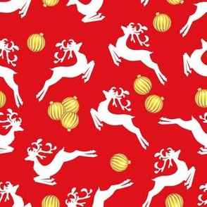 Reindeer & Ornaments On Red