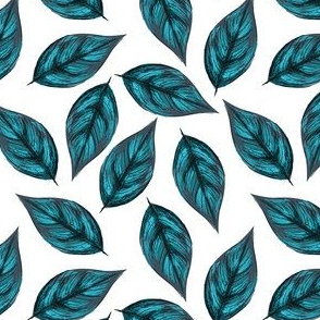 Sketchy Blue Leaves