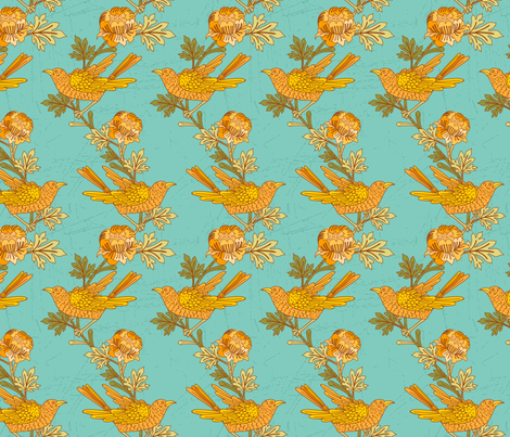 Vintage Birds On Branches fabric by diane555 on Spoonflower - custom fabric