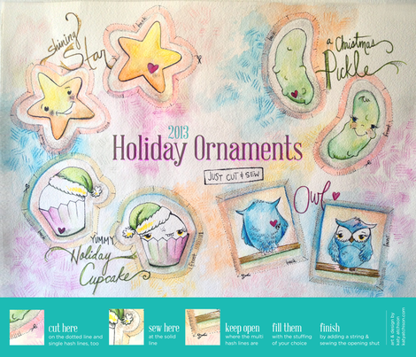 Cute Cut and Sew Ornaments fabric by katyatch on Spoonflower - custom fabric