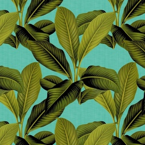 Palm In Palm ~ Tropical Blue Linen ~ Medium