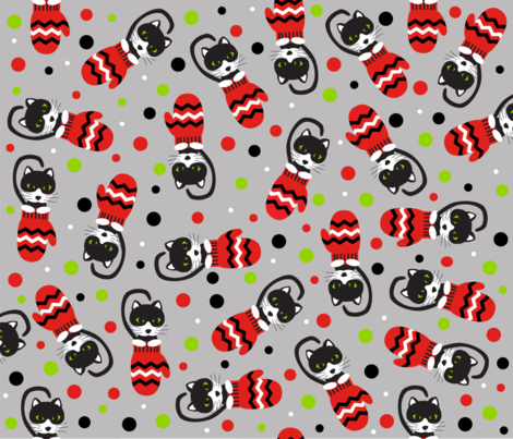 Kittens in Mittens fabric by terrih on Spoonflower - custom fabric