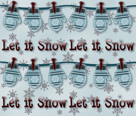 Let it Snow Gift Wrap fabric by jabiroo on Spoonflower - custom fabric