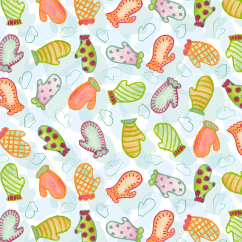 Watercolor Mitten Ditsy fabric by katrinazerilli on Spoonflower - custom fabric