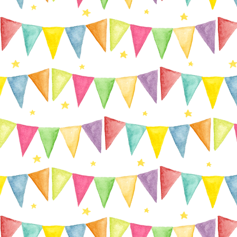 watercolor bunting fabric by katrinazerilli on Spoonflower - custom fabric