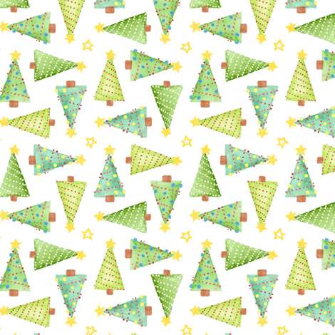 Watercolor Christmas Trees fabric by katrinazerilli on Spoonflower - custom fabric