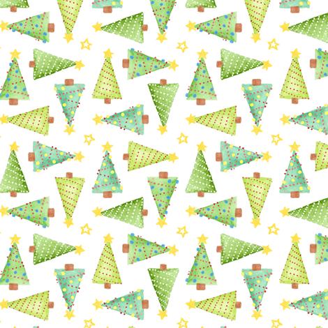 Watercolor Christmas Trees fabric by katrinazerilli on Spoonflower - custom fabric