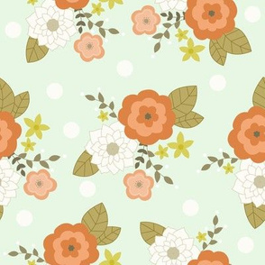 Minty floral with white polka dots