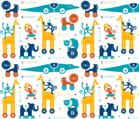 Circus Animals Primary fabric by designone on Spoonflower - custom fabric