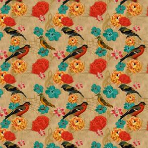 Birds Floral Music on burlap