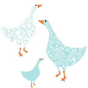 Chiddingly geese/blue mix