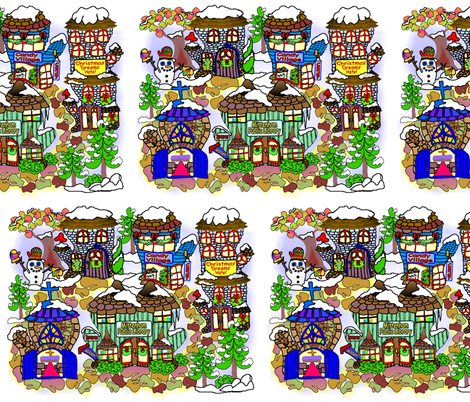 Mittenham_Christmas_village_8 fabric by maryelainedegood_wheatley on Spoonflower - custom fabric