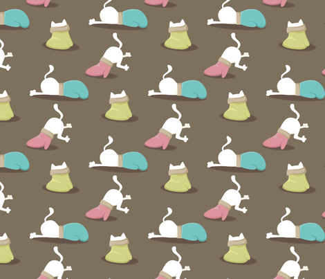 Mitten vs Kitten fabric by cross_the_lime on Spoonflower - custom fabric