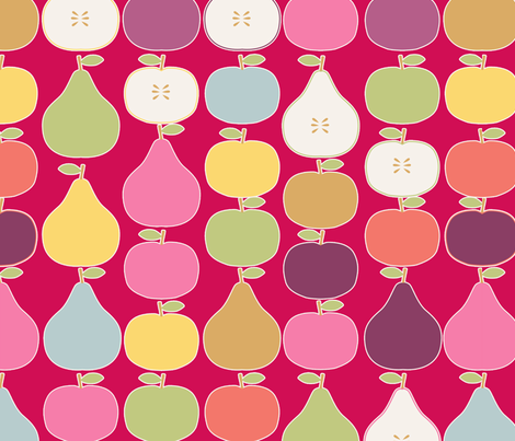 pomme_poire_fond_rouge_L fabric by nadja_petremand on Spoonflower - custom fabric