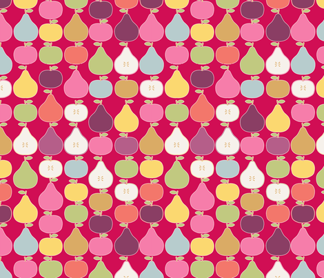 pomme_poire_fond_rouge_M fabric by nadja_petremand on Spoonflower - custom fabric