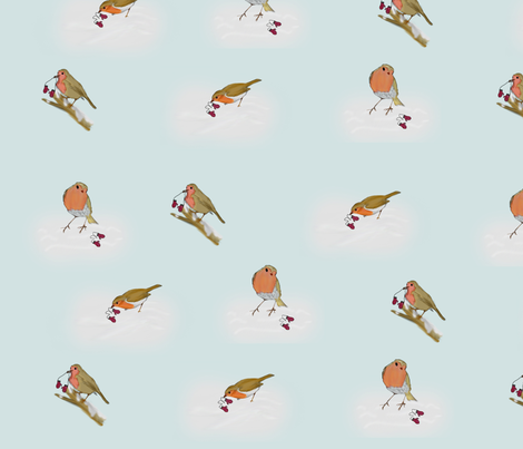 Robins and Mittens fabric by wilmottswonders on Spoonflower - custom fabric
