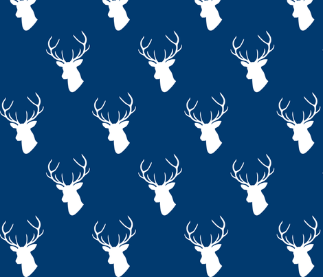 Navy deer silhouettes fabric by mrshervi on Spoonflower - custom fabric