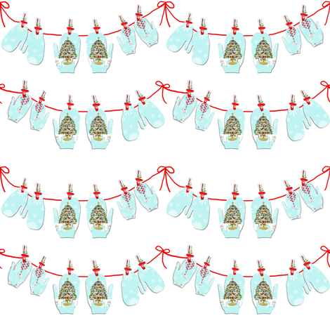 Christmas Mitten Garland fabric by karenharveycox on Spoonflower - custom fabric