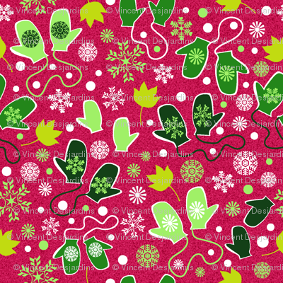Mittens and Snowflakes Red and Green