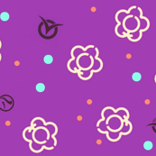 Japanese Floral Scatter on Purple