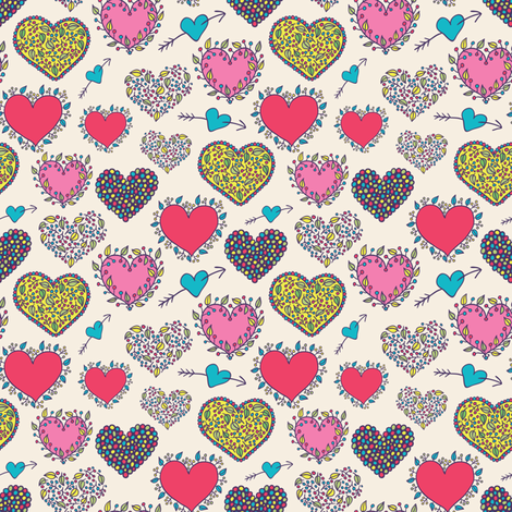hearts seamless pattern fabric by apolinarias on Spoonflower - custom fabric