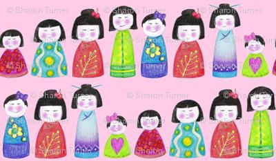 crayon kokeshi doll stripe pink