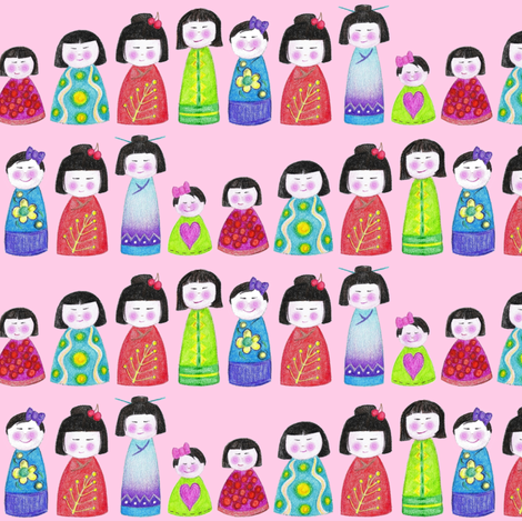 crayon kokeshi doll stripe pink fabric by scrummy on Spoonflower - custom fabric