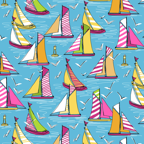 seagulls and sails springtime smaller fabric by scrummy on Spoonflower - custom fabric