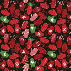 Red Loving Mittens on Dk Green