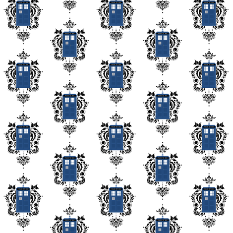 Doctor Who Damask PTN 1 fabric by silverstarfishdesigns on Spoonflower - custom fabric