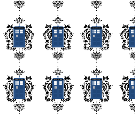 Doctor Who Damask fabric by silverstarfishdesigns on Spoonflower - custom fabric