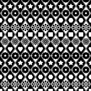 B&W Flower Fun Argyle