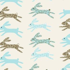 Blenheim bunnies/blue on cream