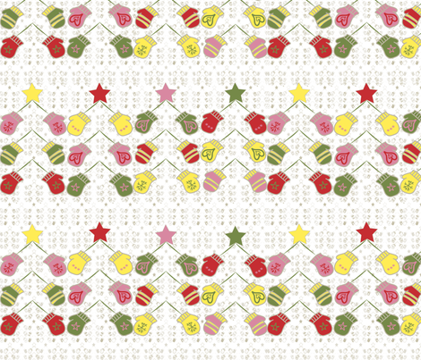 Mittens and Christmas Trees fabric by sewsleepy on Spoonflower - custom fabric