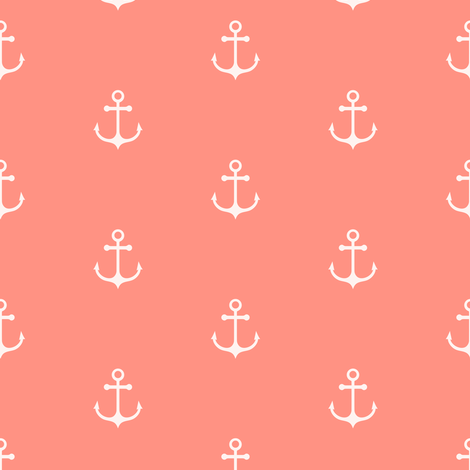 Anchor - Coral fabric by kimsa on Spoonflower - custom fabric