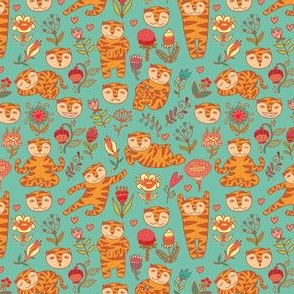 tigers and flowers seamless pattern